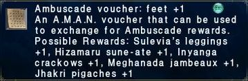Ambuscade voucher: feet +1